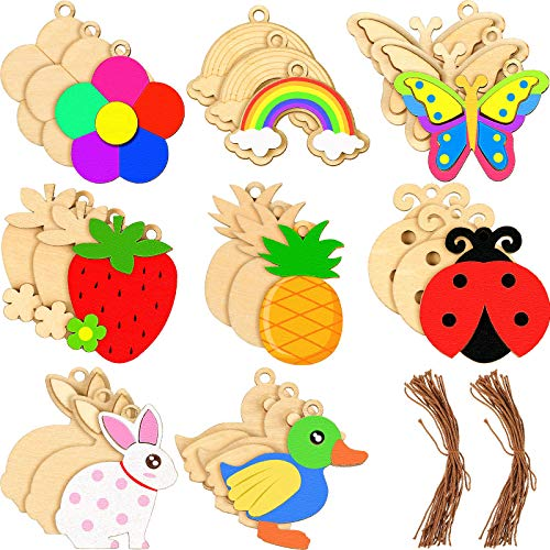 24 Pieces Unfinished Wood Cutouts Animals and Fruit Shape Unfinished Wooden Ornaments with Rope, Wooden Paint Crafts for Kids Home Decoration Craft Project, 8 Styles
