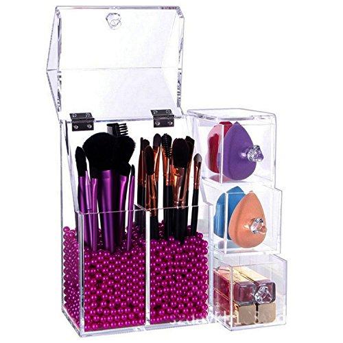 Acrylique Transparent Organiseur de brosse de maquillage, lucite Cosmétique de stockage de support d'affichage avec couvercle, Rosy Perles
