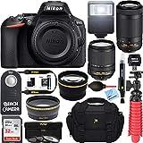 Nikon 1577 D5600 24.2 MP DX-Format DSLR Camera with AF-S 18-140mm f/3.5-5.6G ED VR Lens Kit Bundle with NIKKOR 70-300mm f/4.5-6.3G ED VR Lens, 32GB Memory Card, Bag and Accessories (11 Items)