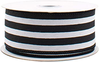 """Black White Striped Satin Ribbon - 1 1/2"""" x 10 Yards, Wired Edge, Christmas Tree Decorations, Halloween, Decor for Garland..."""