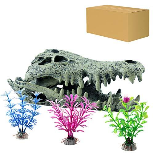 ODOOKON Acquario Ornamento Teschio di Dinosauro in Resina, 15 x 7 x 5,5 cm, 3 Pezzi Piante Casuali Artificiali Acquario Ornamenti Kit per Acquario Decorazioni