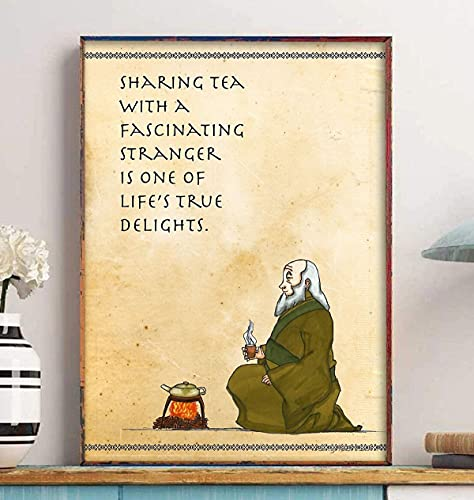 Uncle Iroh Poster, Sharing Tea Iroh Quotes Poster, Avatar Poster, Avatar the Last Airbender Poster, Wall Art Poster Unframed & Canvas Framed