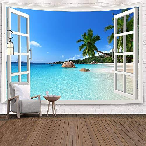 Tapiz de ventana Vista Plantas verdes Flor de mar 3D Manta colgante de pared Colcha Toalla de yoga Decoración de la pared de la playa Tapiz A19 150x200cm