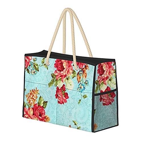 FJJLOVE Bolsa de hombro grande Red Beach Rose cabaña floral de la vendimia del bolso de las mujeres - la bolsa de asas del bolso con asas