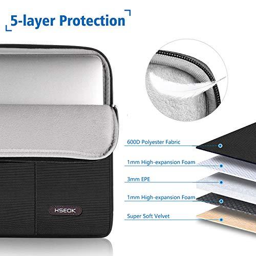 HSEOK 15,6 Zoll Laptop Hülle Tasche,Stoßfeste Wasserdicht PC Sleeve kompatibel mit die meisten 15,6 Zoll Laptops Dell/HP/Lenovo/Acer/Ausu, Schwarz