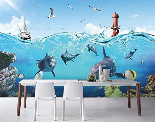 Papel Pintado 3D Mural Faro De Barco De Vapor De Delfines De Agua De Mar Papel Tapiz Pared 3D Fotomural Moderno Wallpaper Salón Dormitorio Decoración,200X140cm