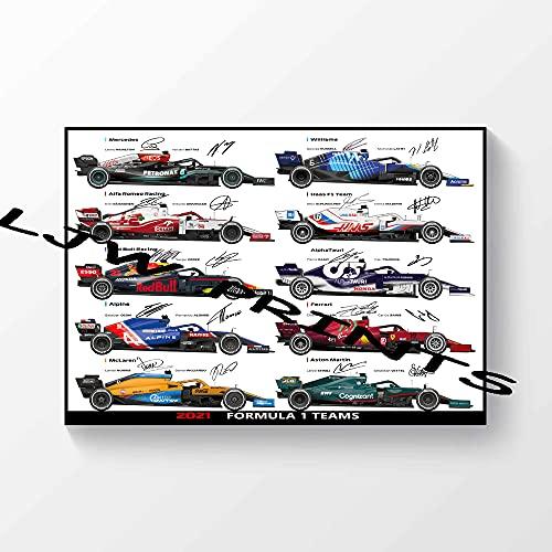 Póster impreso con autógrafo firmado F1 de Fórmula One Teams 2021