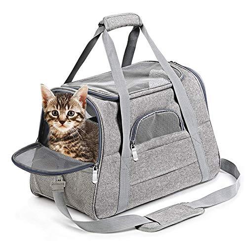 Milopon Hundetransportbox Faltbare Hundebox Katzentragetasche Hundetransportbox, Transportboxen Hunden Katzen, Transporttasche Oxford Gewebe, Hundetaschen mit Schultergurt und Plüschmatte