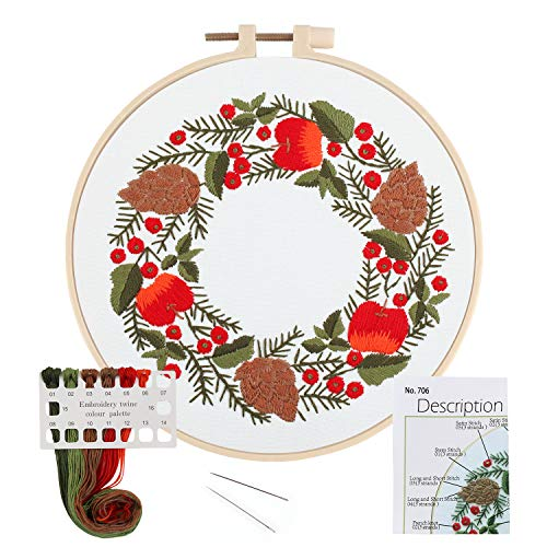 LIVEBOX Embroidery Kit for Beginners Cross Stitch Kits DIY Stamped Embroidery Starters Set with Christmas Pattern Instructions Embroidery Hoop and Color Threads for Adults Kids Wall Decor(Flower 8)
