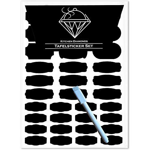 Kitchen Diamonds Premium Tafelsticker-Set inkl. Stift - 136 Selbstklebende Küchen-Etiketten-Aufkleber in diversen Formen & Größen
