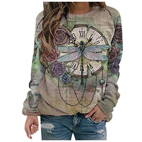 Masrin Mask Frauen Pullover Mode Blumen Libelle Print Sweatshirt Damen Langarm O-Ausschnitt Patchwork Shirts Herbst Winter Pullover Tops Bluse(XL,Beige)