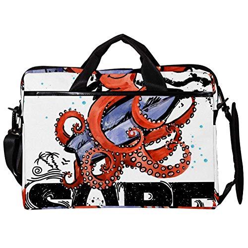 TIZORAX Laptop Messenger Schultertaschen Surf Octopus Boat Boy Computer Schutzhülle Notebook-Tasche 15-15,4 Zoll Handtasche
