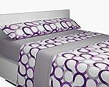 SABANALIA - Juego de sábanas Franela Aros (Disponible en Varios tamaños y Colores), Cama 150, Lila-Gris