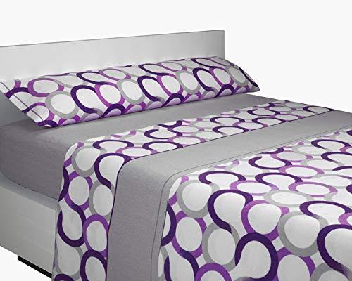 SABANALIA - Juego de sábanas Franela Aros (Disponible en Varios tamaños y Colores), Cama 135, Lila-Gris