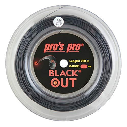 Pro's Pro Black out Corda per Racchetta da Tennis - 200m Bobina - 1.24mm - Nero