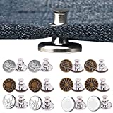 Botones instantáneos sin coser, botones de jeans, 12 botones extraíbles de fácil clip para cintura delgada, jeans, pantalones, plata, vintage