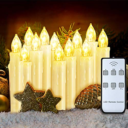 VicTsing Velas de LED Decorativas para Árbol de Navidad 12 Velas Eléctricas con Mando, Efecto Llama y Brillo...