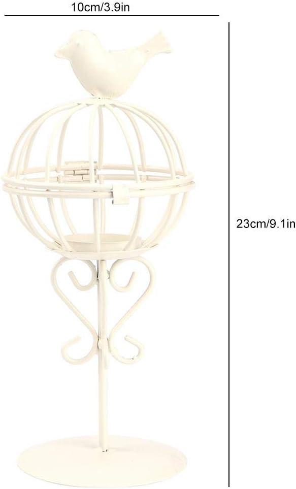 Ornement d/écoratif de br/ûleur de Bougie de Cage /à Oiseaux de Fer pour la Maison et la Noce 9,1 x 3,9 po Blanc HERCHR Bougeoirs de Bougie de th/é