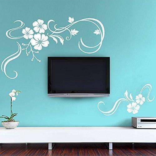 Grandora Wandtattoo Blumenranke 2-teilig I weiß (BxH) 58 x 35 cm /32 x 15 cm I Wohnzimmer Schlafzimmer Aufkleber Sticker Wandaufkleber Wandsticker W828