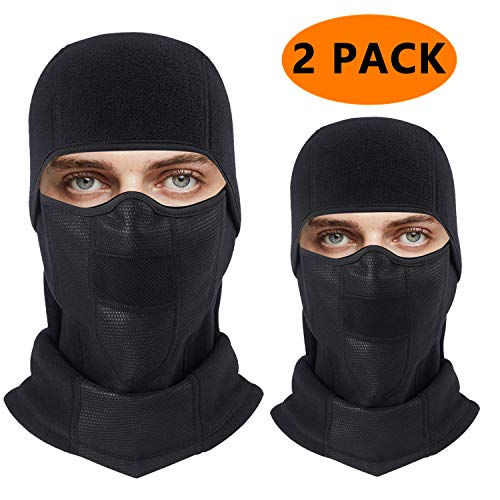 Balaclava Ski Face Mask Windproof Winter Warm Face Cover, Ultimate Thermal Fleece Fabric with Breathable Vents for Cold Skiing Motorcycle Snowboard Cycling for Men & Women & Children (2Pack-Black)