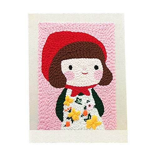 Poke Embroidery Kit, Square Punch Needle Cross Stitch Kit, Cute Girl Print, Hooking Projects DIY Crochet Yarn Kits Embroidery Latch Hook Kit Creative Gift, Home Decorations, Adults & Kids Art Craft