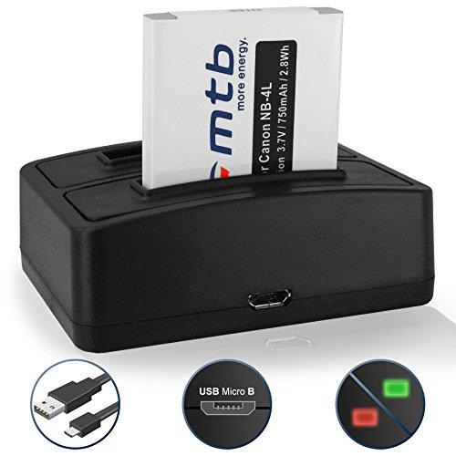 Akku + Dual-Ladegerät (USB) NB-4L für Canon IXUS 40, 55, 60, 220 HS, 255 HS./ Powershot SD780 is, SD1100 is, SD1400 is .s. Liste