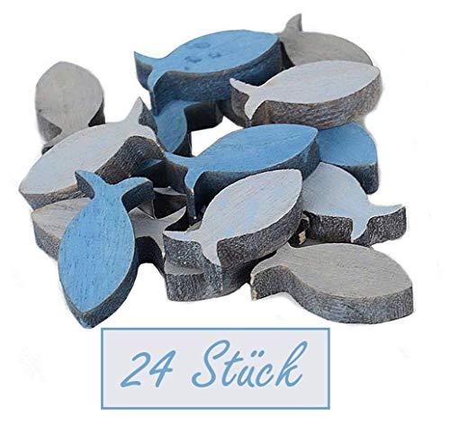 Decpero houten vissen / 24 stuks/blauw grijs - 2-kleurig gemengd