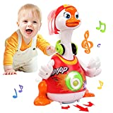 Baby Toys 12-18 Months Early Education Funny Dancing Hip-Hop Swing Goose ,Music/Walking/Flashing Lights Gifts Toys for 1 2 3 Years Old Boys Girls Toddlers (Random Color)