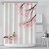 TENKHL DuschvorhangRosa Kirschblüte Pfirsichblüten Duschvorhang Weißer Hintergr& Mädchen Badezimmer Wasserdicht Polyester Tuch Display Mit Haken Set