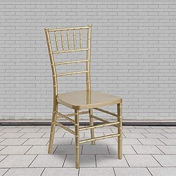 Flash Furniture 2 Pack HERCULES PREMIUM Series Gold Resin Stacking Chiavari Chair