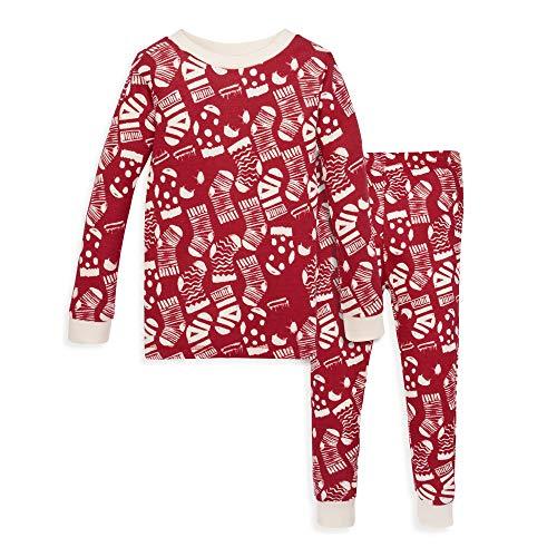Burt's Bees Baby Baby Boy's Pajamas, Tee and Pant 2-Piece PJ Set, 100% Organic Cotton, Holiday Stockings, 12 Months
