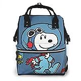 Mochila para pañales, Snoopy y Woodstock en el espacio, multifunción, resistente al agua, mochila de viaje