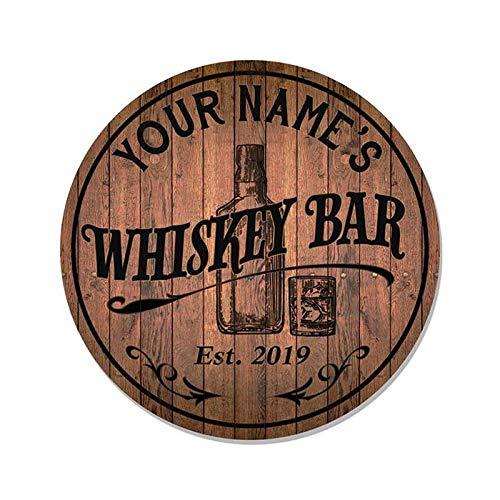 SIGNS Barra de whisky personalizada de 35,56 cm de madera redonda Pub Bar Hombre Cueva Pared D¨¦cor Grill Accesorios Redonda Personalizado Nombre Regalo B3-00140051001