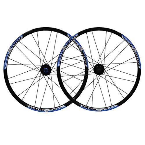 LDDLDG Juego Ruedas Bicicleta Montaña Juego de Ruedas 24 x 1,5 24H, Doble Pared de liberación rápida (Color : Black+Blue)