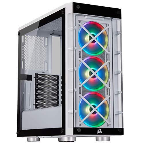 Corsair iCUE 465X RGB Mid-Tower ATX Smartes Gehäuse (Seiten und Frontscheibe aus gehärtetem Glas, 3 integrierte LL120 RGB Lüfter, vielseitige Kühloptionen) weiß