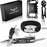 Multi Tool Survival Gear Kit – Father's Day or Birthday Gift for Men | Tactical Gear Gift Set w/ Multitool Knife, Paracord Bracelet, Credit Card Tool | Cool Gadgets for Men, Christmas Stocking Stuffer
