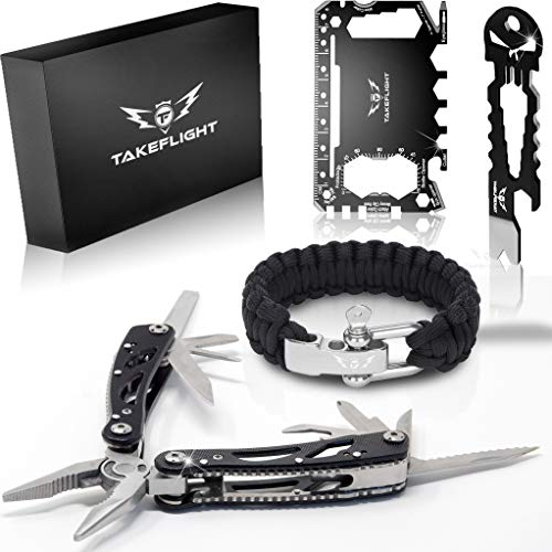 Multi Tool Survival Gear Kit  Father's Day or Birthday Gift for Men | Tactical Gear Gift Set w/ Multitool Knife, Paracord Bracelet, Credit Card Tool | Cool Gadgets for Men, Christmas Stocking Stuffer