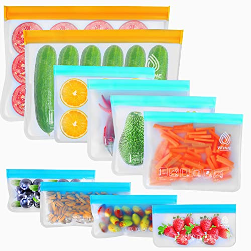 VEHHE 10 Pack Reusable Storage Bags 2 Reusable Food Freezer Bags  4 Reusable Sandwich Bags Washable  4 Snack Bags Extra Thick Silicone Free Lunch Bags For Marinate Food Vegetable Meat Fruit