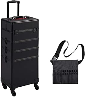 Yaheetech 4 in 1 Rolling Makeup Train Case - Aluminum 4 Wheeled Cosmetic Trolley W/Lift Handle Makeup Brush Bag Christmas Gift Black