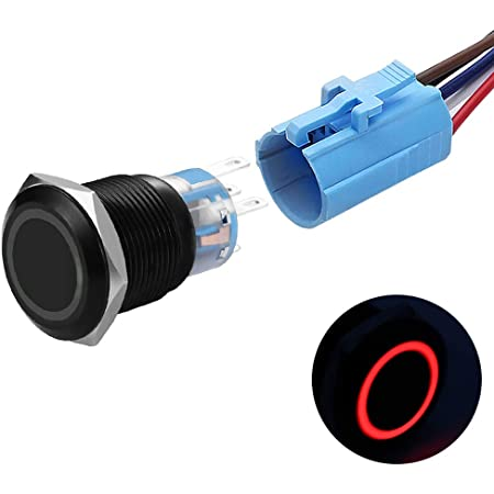19mm Latching Push Button Switches SPDT ON/Off Waterproof Black Metal 12V Ring LED with Wire Plug (Red)