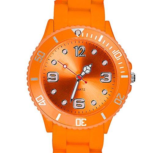 Taffstyle Farbige Sportuhr Armbanduhr Silikon Sport Watch Damen Herren Kinder Analog Quarz Uhr 34mm Orange