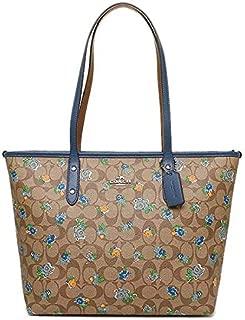 Coach F57888 SVLMB Signature Printed Floral Logo City Zip Tote Bag in Blue Multi
