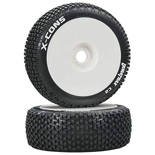 Duratrax X-Cons 1/8 C2 Mounted Buggy Tires, White (2)