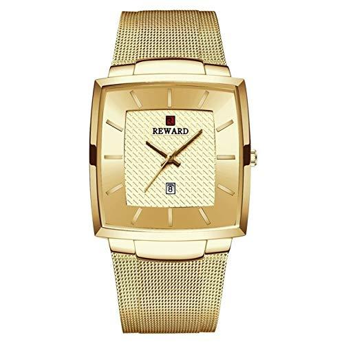JCCOZ-URG A Prueba de Agua Reloj de Cuarzo de los Hombres Relojes de Oro de Acero Inoxidable de los Hombres de Negocios Fecha de Pulsera Lujo de la Marca URG (Color : Golden Box)