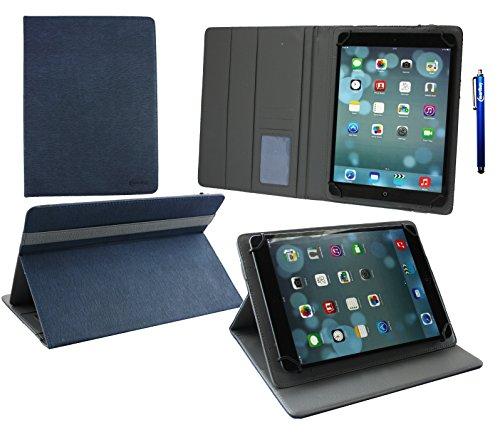 emartbuy® Archos 101 Helium Lite 4G 10.1 Zoll Tablet Universal (9-10 Zoll) Dark Blau PremiumPULederMulti AngleExekutiveGeldbörseHülle Grey InnenraummitKartensteckplätze + Eingabestift