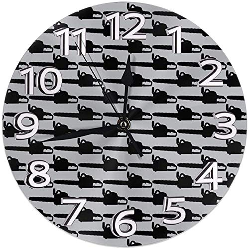 Meili Shop Kettensäge Grau Wanduhr Uhren Robuste runde Wanduhr Leichte Uhr
