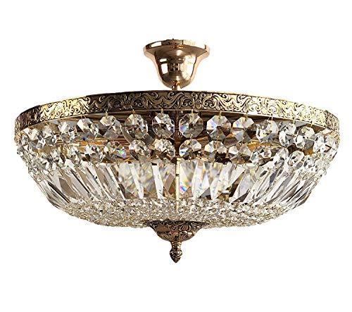 Kristall Deckenleuchte,Kristall Deckenlampe, SCHÖNBRUNN Antik Gold Ø45cm 6 Flammig gefertigt aus geschliffenen Kristallen PGA Lights®
