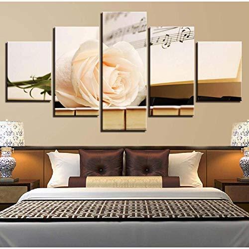 Leinwanddrucke Home Nacht Hintergrund Dekor Wanddrucke Hd Leinwandbild 5 Stück Partitur Klavier Stillleben Malerei Modulare Kunstwerk Rahmen Poster Drucke auf Leinwand