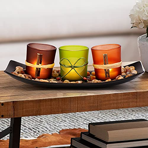 DARJEN Candle Holders Tray Rocks, Home Decor Accents Gift Set, Natual Votive Candlescape Candle Holder Set of 3 Tea Light, Small Coffee Table Decor, Gift for Birthday, Mother's Day, Anniversary