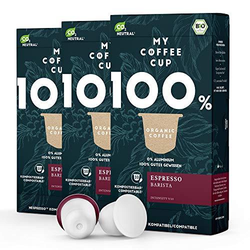 My Coffee Cup – ESPRESSO BARISTA – BIO-KAFFEE 3 PACKUNGEN I 30 Kaffeekapseln für Nespresso®³-Kapselmaschinen I 100% industriell kompostierbare Kaffeekapseln – 0% Alu I Nachhaltige Kaffeekapseln
